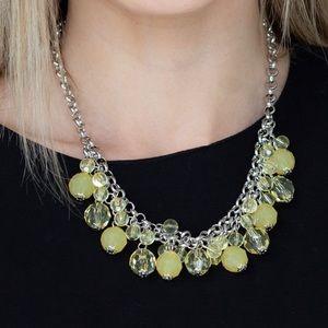 Crystal Beaded Yellow Necklace Earring Set NWT